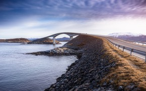 Картинка дорога, мост, пролив, Норвегия