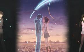 Картинка девушка, аниме, арт, комета, парень, двое, Kimi no Na wa, Твоё имя