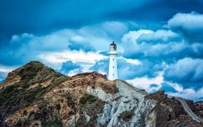 Картинка побережье, маяк, Новая Зеландия