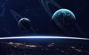 Картинка Звезды, Планета, Космос, Планеты, Surface, Planets, Кольцо, Арт, Stars, Space, Art, Кольца, Planet, Поверхность, Rings, …