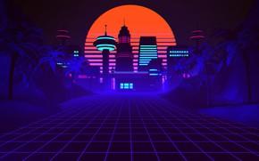 Картинка пальмы, Закат, Солнце, Музыка, Стиль, 80s, Style, Las Vegas, Retrowave, Synthwave, New Retro Wave, Синтвейв, …