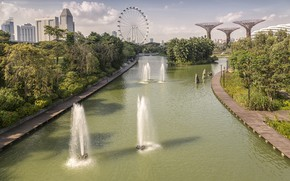 Картинка деревья, парк, канал, Сингапур, фонтаны, колесо обозрение, Singapore, fountains