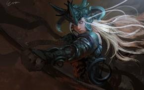Картинка girl, fantasy, armor, Warrior, blonde, digital art, bow, artwork, fantasy art, archer, fantasy girl