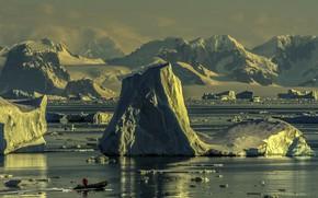 Картинка горы, природа, океан, лодка, льды, льдины, снега