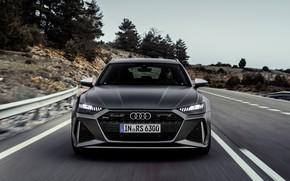 Картинка дорога, Audi, перед, универсал, RS 6, 2020, 2019, тёмно-серый, V8 Twin-Turbo, RS6 Avant