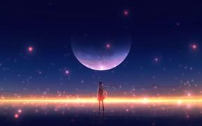 Картинка вода, девушка, ночь, луна, огоньки