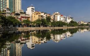 Картинка отражение, река, здания, Вьетнам, Ханой