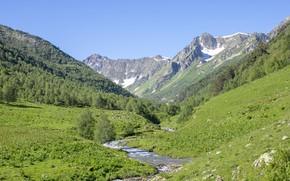 Картинка горы, долина, горная река, кавказ, архыз, кавказские горы, река дукка, дуккинское, лето в горах