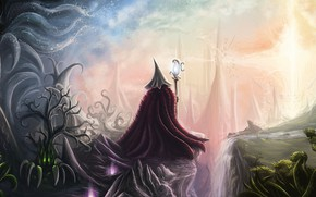 Картинка свет, растения, light, посох, волшебный мир, иные миры, друид, plants, fantasy art, фантастический пейзаж, staff, …