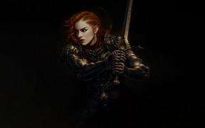 Картинка Девушка, Минимализм, Доспехи, Стиль, Girl, Меч, Воин, Арт, Art, Рыжая, Style, Warrior, Redhead, Minimalism, Sword, …