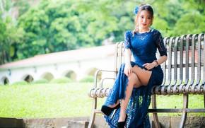 Картинка девушка, платье, ножки, азиатка, скамья