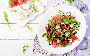 Картинка зелень, бекон, салат, инжир