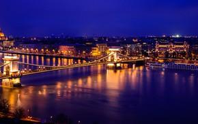 Картинка ночь, огни, река, Парламент, панорама, Венгрия, Будапешт, Дунай, Цепной мост