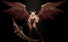 Картинка поза, улыбка, крылья, фэнтези, арт, рога, черный фон, демоница