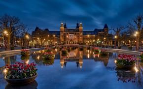 Картинка Нидерланды, Голландия, blue hour, Рейксмюсеум