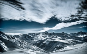 Картинка зима, небо, облака, снег, горы, склоны, вершины, сугробы