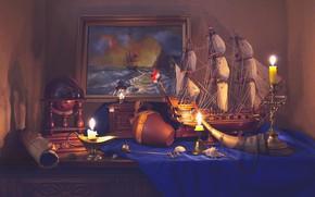 Картинка корабль, картина, свечи, натюрморт, глобус, свиток, Валентина Колова