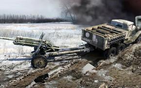 Картинка ГАЗ-ААА, советский грузовой автомобиль, 76-мм УСВ-БР, дивизионная пушка образца 1939 года, Советский 2-х Тонный грузовик …