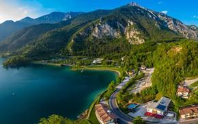 Картинка дорога, пейзаж, горы, природа, озеро, побережье, Италия, озеро Гарда