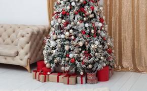 Картинка елка, новый год, интерьер, подарки, гирлянды