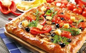 Картинка грибы, сыр, пицца, помидоры, оливки, pizza, начинка, mushrooms, cheese, tomato