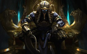 Картинка Египет, Fantasy, Art, Фантастика, Трон, God, Револьвер, Ares, Horus, by Ares, Egyptian Pharaoh