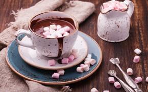 Картинка горячий, шоколад, чашка, блюдце, ваниль, зефир, сервировка