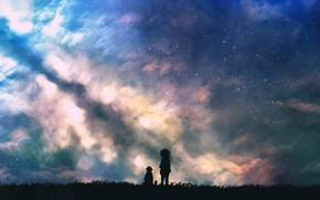 Картинка небо, трава, ночь, дети, млечный путь