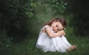 Обои трава, ветки, настроение, ромашка, девочка, милашка, малышка, локоны, цветочек
