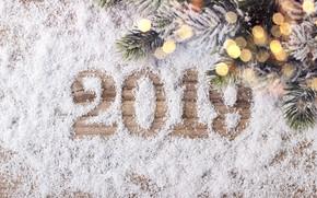 Картинка снег, украшения, Новый Год, Рождество, happy, Christmas, wood, snow, New Year, decoration, Merry, fir tree, ...