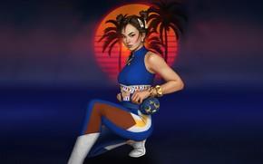 Картинка Солнце, Девушка, Музыка, Стиль, Фон, Арт, Art, 80s, Style, Neon, Illustration, Street Fighter, Chun-Li, Chun …