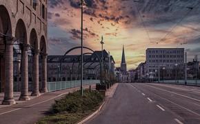 Картинка небо, улица, здания, дома, Германия, фонари