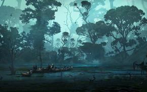 Картинка лес, люди, сумрак, водоём, Swamp and wildness