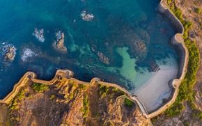 Картинка море, Индия, вид с высоты, форт Синдхудург