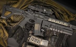 Картинка оружие, винтовка, weapon, custom, м16, ar-15, assault rifle, m16, assault Rifle, grenade launcher, подствольный гранатомет, …