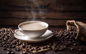 Картинка фон, кофе, горячий, пар, чашка, белая, напиток, мешок, блюдце, зёрна, боке