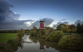 Картинка пейзаж, природа, Германия, мельницы, речушка