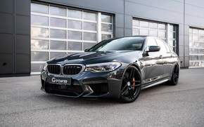 Картинка BMW, седан, G-Power, 2018, у стены, BMW M5, четырёхдверный, M5, F90, тёмно-серый