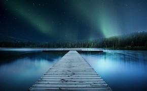 Картинка лес, небо, звезды, река, причал, пирс