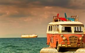 Картинка море, макро, игрушка, моделька, автобусик