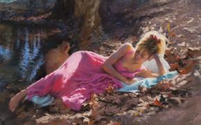 Картинка girl, dress, art, barefoot, leaves, painting, artist, blonde, feet, Vicente Romero Redondo, painting art, bare …