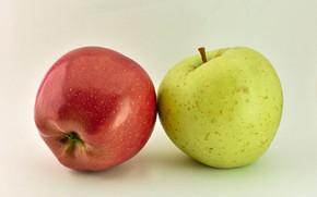 Картинка фон, яблоки, два яблока