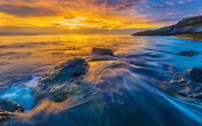 Картинка море, волны, пейзаж, закат, камни, скалы