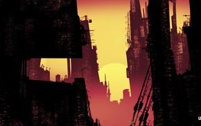 Картинка Закат, Минимализм, Город, Арт, Sunset, Illustration, Concept Art, Cities, Cyber, Architecture, Cyberpunk, Futuristic, Blade runner, …
