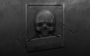 Обои металл, трещины, стена, табличка, череп