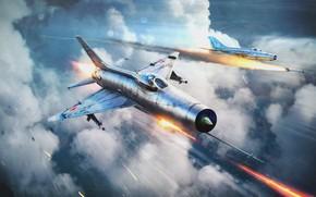 Картинка небо, облака, война, самолёт, самолёты, War Thunder, Warplane