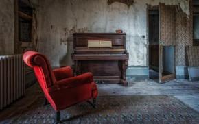 Картинка комната, кресло, пианино