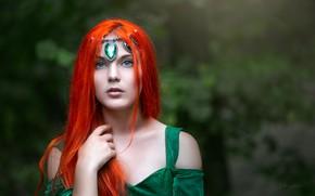 Картинка взгляд, девушка, лицо, модель, волосы, рыжая, боке, Виктория Вижанская