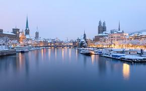 Картинка зима, река, здания, дома, Швейцария, причал, Switzerland, Zürich, Цюрих, Limmat River, Река Лиммат