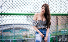 Картинка лето, девушка, сетка, модель, забор, фигура, азиатка